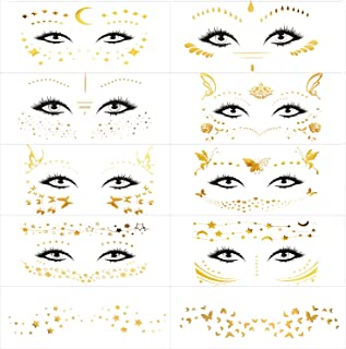 16 Sheets Face Tattoo Sticker, Shows Gold Glitter, Metallic Shiny Temporary Water Transfer Tattoo for Professional Make up Dancer Costume Parties