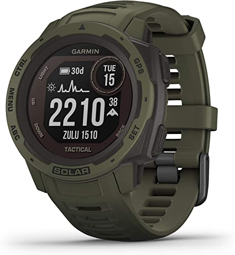 Garmin Instinct Solar Tactical, Solar-Powered Rugged Outdoor Smartwatch with Tactical Features, Built-in Sports Apps and Health Monitoring, Moss Green (010-02293-14)
