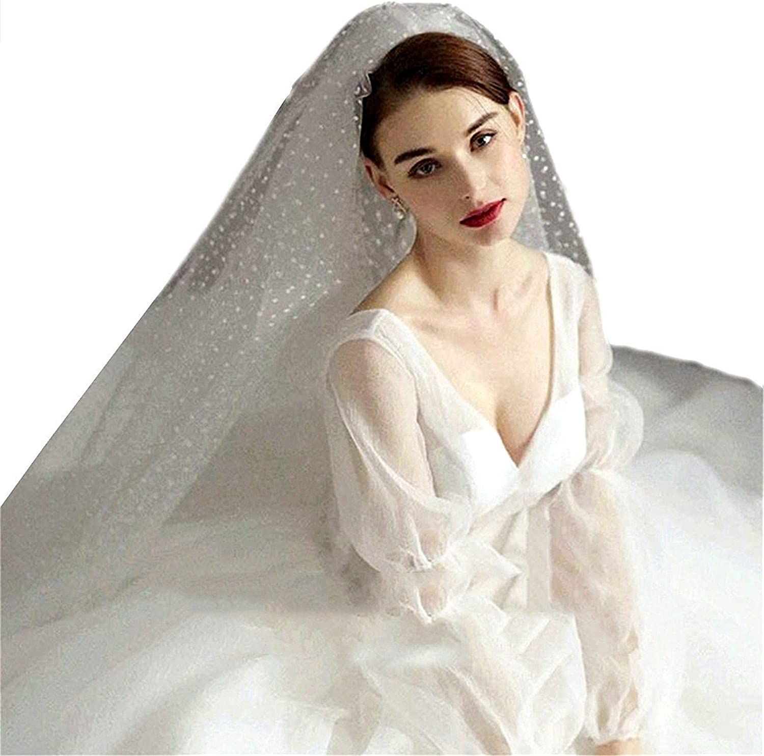 2 Layer Cut Edge Short Wedding Veils 2 Tier White Bridal bluesher Veil With Comb