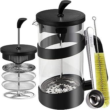 YiiMO French Press Coffee Maker 4 Level Filtration 34oz, Stainless Steel Spoon: Easy Lock Bags, BPA Free Glass beaker Tea Mil