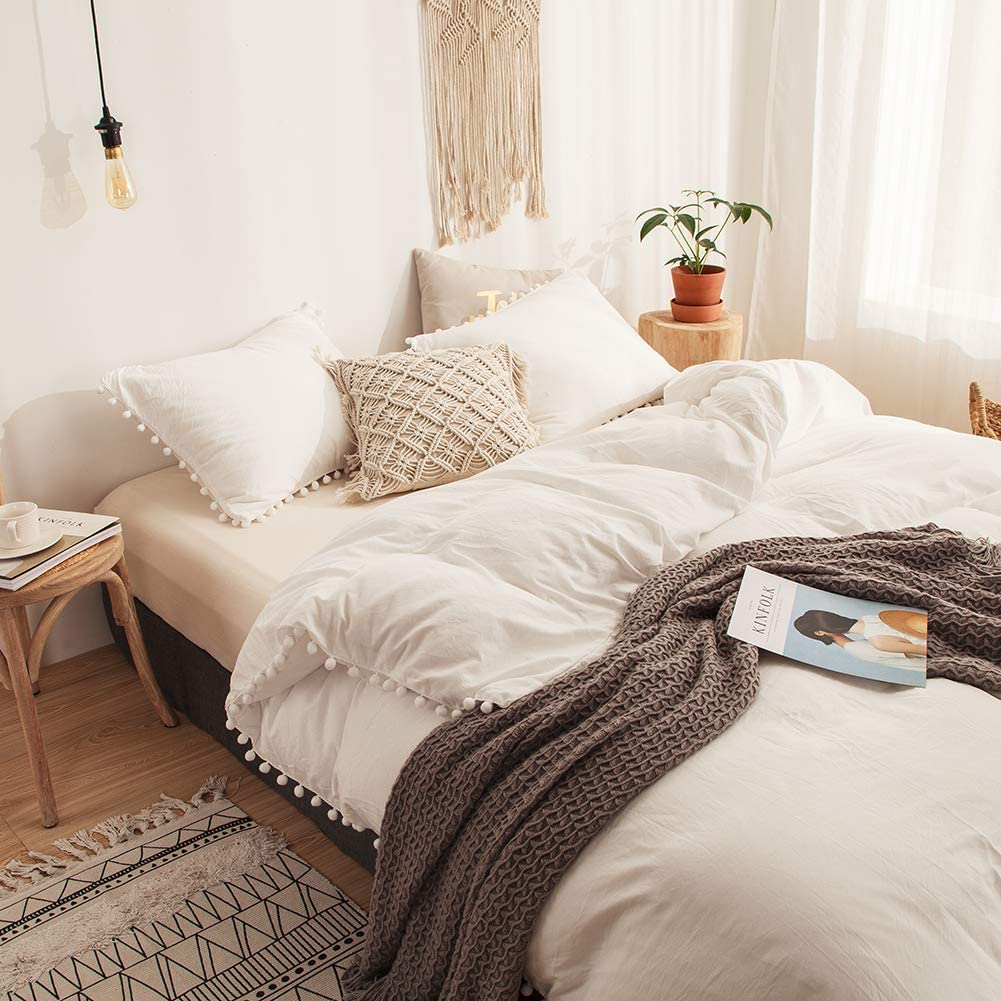 MOVE OVER 3 Pieces White Bedding Off White Duvet Cover Set Ball Fringe Pattern Design Soft Offwhite Bedding Set Queen 1 Duvet Cover 2 Ball Lace Pillow Shams Queen, Offwhite