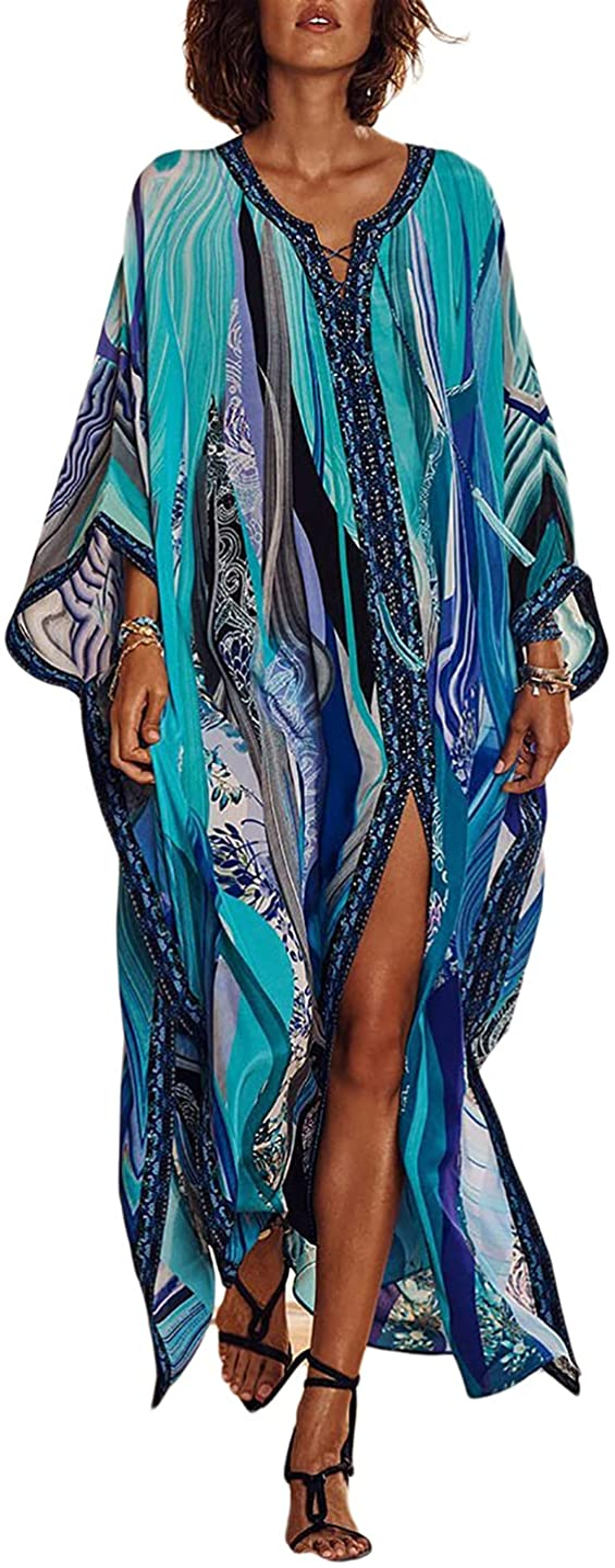 AILUNSNIKA Robe Kaftan Bikini Swimwear Cover Up Casual Long Beach Maxi Dress for Women