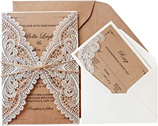 Picky Bride Customized Wedding Invitations with RSVP Cards Rustic Wedding Invite Cards Envelopes Included 125 x 182 mm - Set of 50 pcs (Customized Invitations + RSVP Cards)