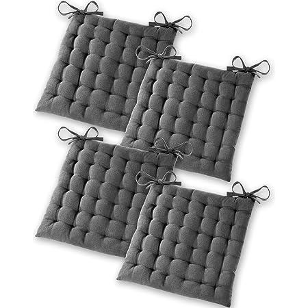 Gräfenstayn® Set de 4 Coussins d'Assise Coussins de Chaise 40x40x5cm pour intérieur et extérieur - 100% Coton - Différents Coloris – Rembourrage épais (Anthracite)