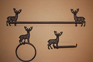 Southern Metal Deer Hunter Home Decor Rustic Cast Iron Bathroom Towel Bar, Toilet Paper Holder, Towel Ring, Bundle -3 Items