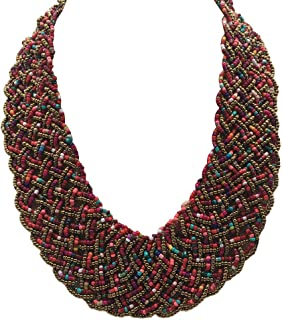 JHWZAIY Wide Braided Seed Bead Multi Strand Statement Necklace & Earrings Set