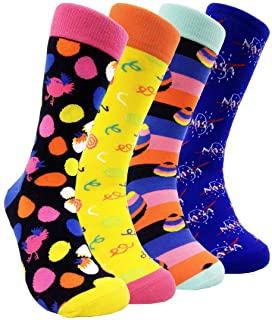 Mens Colorful Dress Crew Socks - HSELL Funky Patterned Cotton Casual Socks for Mens Party Fancy Socks (Chick Eggs - 4 Pairs)