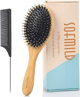 Hair Brush, Boar Bristle HairBrush Set for Thick Fine Curly Thin Hair, Oval Bamboo Paddle Nylon&Boar Bristl...