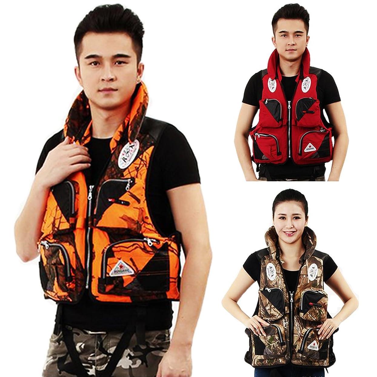 インチ上流のにやにやmonoii ライフジャケット 釣り フローティングベスト 救命胴衣 大人用 ポケット付