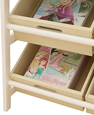 SDHYL Large Wood Toy Organizer, Magzine Organizer, Book Collection with 4 Tiers & 8 Wood Bins for Kids Bedroom, Playroom, Liv