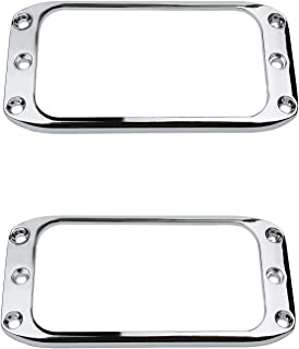 Guyker 2Pcs Pickup Mounting Rings for Humbucker – Metal Pickups Cover Frame Set Replacement Round Edges for Electric Guitar or Bass (Chrome)