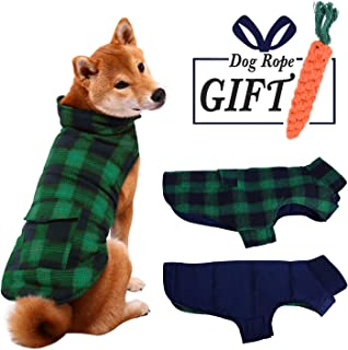 ESOEM Pet Dog Coat Winter Warm Plaid Cozy Dog Jacket Waterproof Windproof Reversible Dog Vest Apparel Cold Weather Outwear with Free Carrot Chew Toys for Small, Medium and Large Dogs ( XS-3XL )