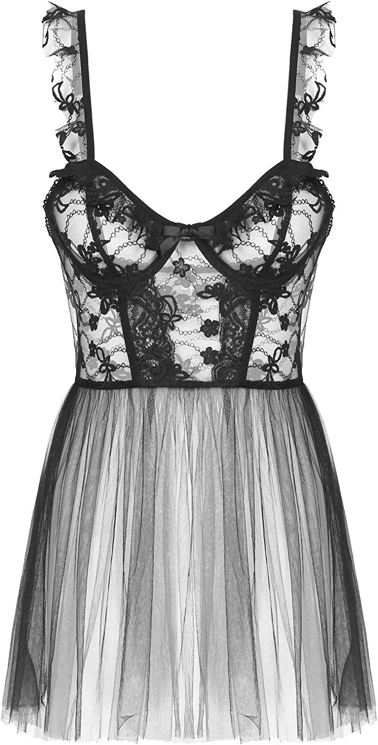 Yeahdor Women's Lace Lingerie Babydoll Teddy Chemise See Through