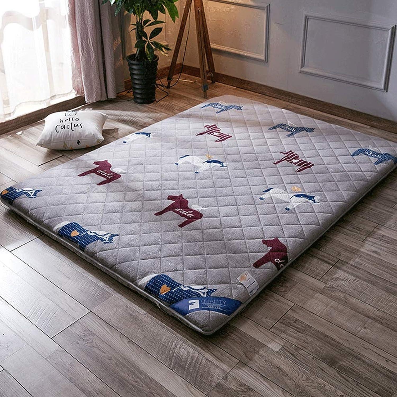 Foldable Mattress, Thick 6cm Floor Mat, Household Non-Slip Tatami Cushion, Cotton Non-Ball Fabric (color   C, Size   100x200cm)