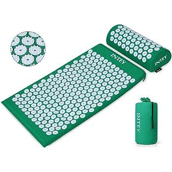 INTEY Kit d'Acupression Tapis Coussin de Massage pour Yoga Traitement des Douleurs Tensions Vert