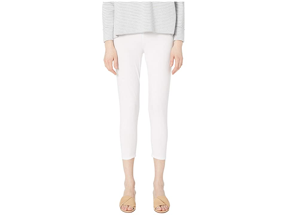 Eileen Fisher Lightweight Cotton Stretch Jersey Cropped Leggings (White) Women
