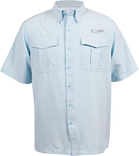 HABIT Men's Belcoast Short Sleeve River Guide Fishing Shirt, Omphalodes, X-Large