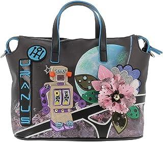 Braccialini Borsa shopping nera multicolor linea cartoline B12243