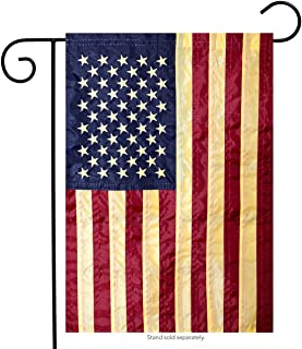 "American Flag tea Stained Applique Garden Flag 12.5"" x 18"""