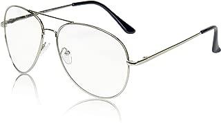 Sunny Pro Aviator Glasses Oversized Metal Frame Clear Lens UV400 Protection
