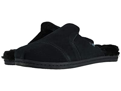 TOMS Nova Leather Wrap (Black Suede/Faux Fur) Women