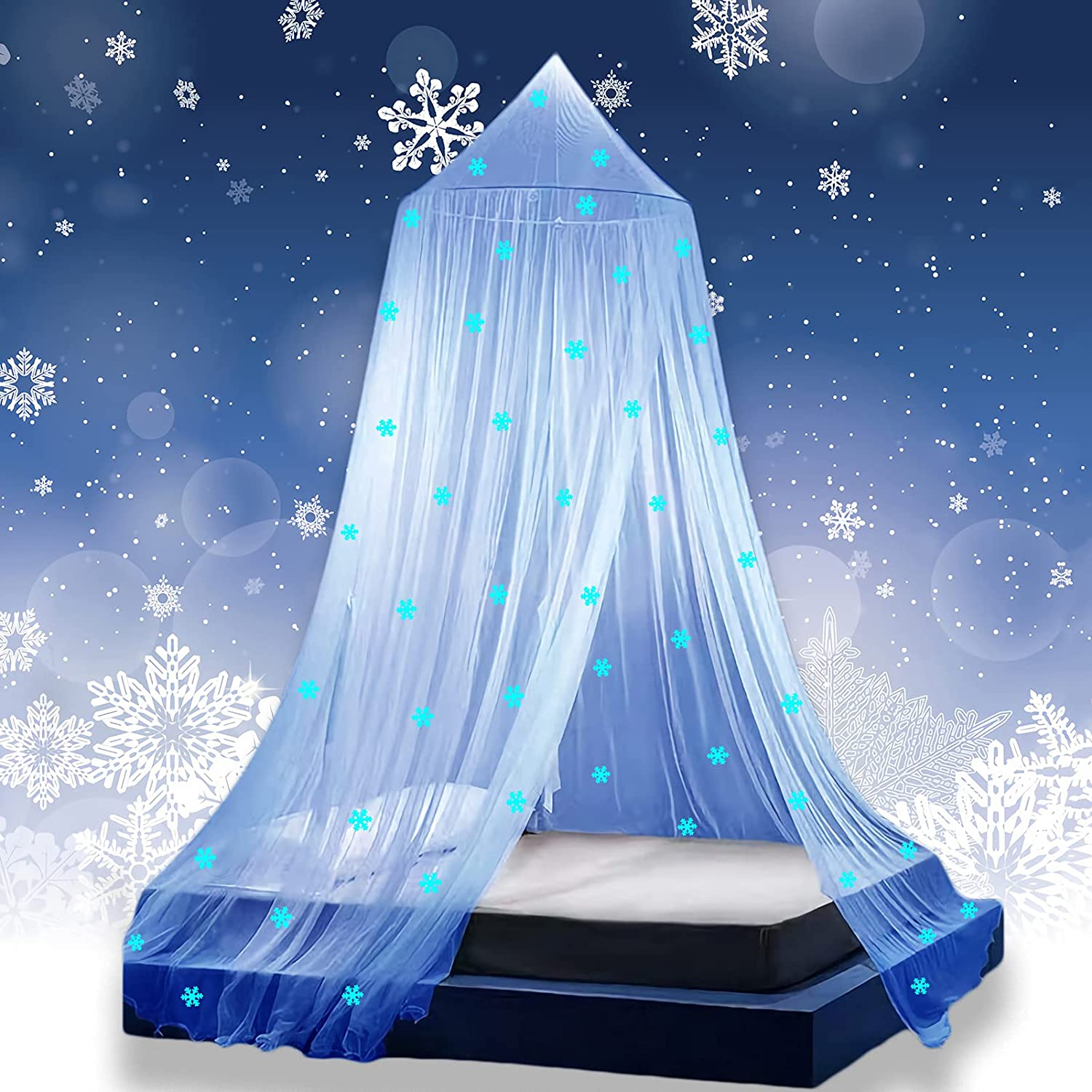 Princess Girls Bed Canopy with Glow in The Dark Snowflakes, Freezing Bed Canopy for Girls Room Decor by Eimilaly, Encrypted Fabric, Blue