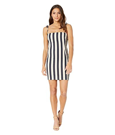ASTR the Label Lena Dress (Navy/Natural Stripe) Women