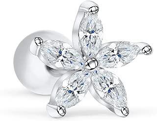 ONDAISY 14K Gold Plated Simulated Diamond Cz Dainty Stainless Steel Tree Flower Leaf Daisy Ear Barbell Ball Stud Earring Piercing For Women Girls