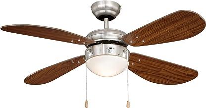 Plafondventilator met verlichting Classic, behuizing nikkel, vleugelkleur walnoot, 105 cm