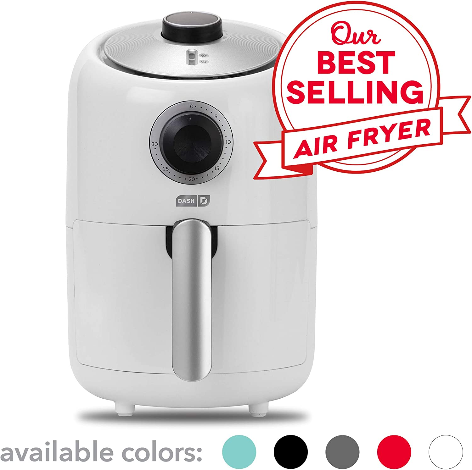 Dash Compact Air Fryer 1.2 L Electric Air Fryer Oven Cooker with Temperature Control, Non Stick Fry Basket, Recipe Guide + Auto Shut off Feature - White