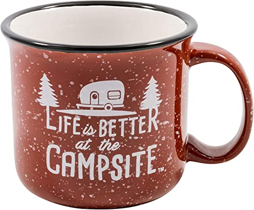 2021 Camco Life is Better at The Campsite Ceramic Coffee Mug - Great new arrival for Use While Camping popular and Outdoors. Microwave and Dishwasher Safe Speckled Red, 12 oz. (53235) online