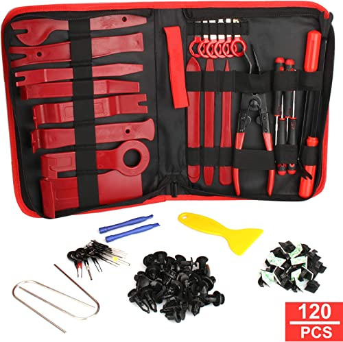 Trim Removal Tool,120Pcs Car Panel Door Audio Removal Tool Kit, Auto Clip Pliers Fastener Remover Pry Tool Set with S...