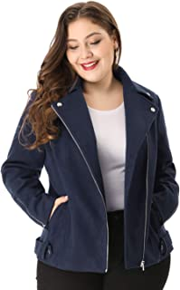 Women's Plus Size Zip Closure Convertible Collar Inclined Moto Jacket