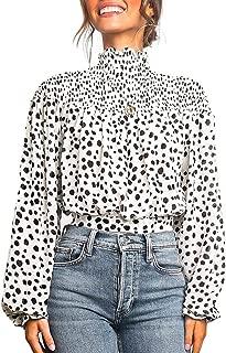 Women's Floral Print Turtleneck Long Sleeve Casual Loose Blouse Shirt Tops