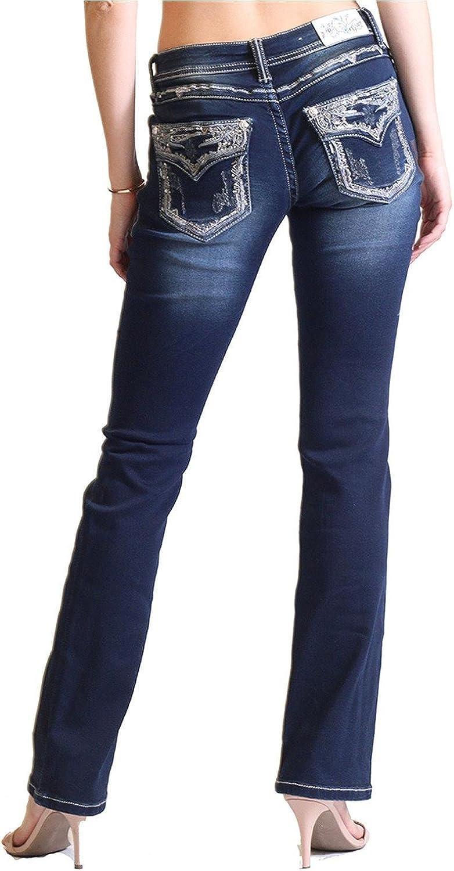 Grace in LA Women's Dark Wash Embroidered Flap Pocket Boot Cut Jeans  Eb61203Dk