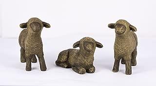 Three Black Sheep Willow Tree Nativity Figurines - Two Standing, One Lying