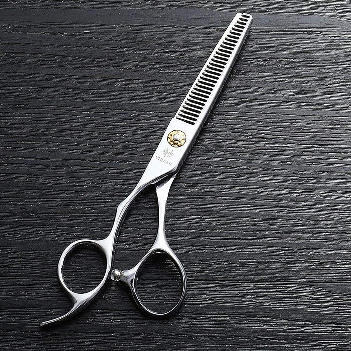 溶岩資格フェローシップカットハサミ ヘアスタイリングツール 6インチ美容院プロのヘアカットハイエンド左手歯はさみ、440 cステンレス鋼理髪ツール ヘアカットシザー (色 : Silver)