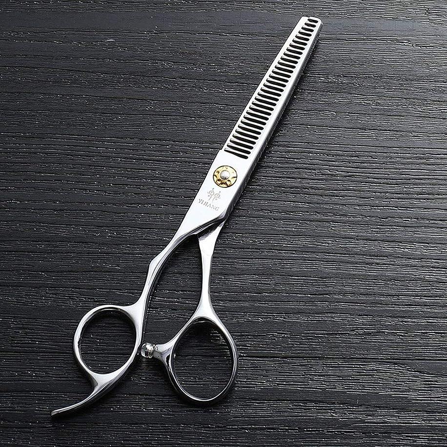 教え謎息切れ理髪用はさみ 440Cステンレス鋼理髪ツール、6インチ美容院プロのヘアカットハイエンド左手歯はさみヘアカット鋏ステンレス理髪はさみ (色 : Silver)