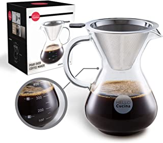 Hello Cucina Pour Over Coffee Maker, 13.5 Oz Coffee Dripper, Top Quality Borosilicate Glass Carafe with Stainless Steel Pe...