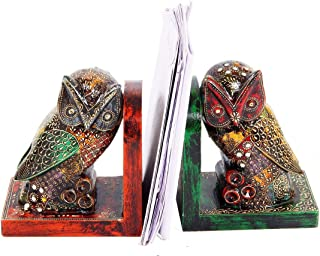 Purpledip Wooden Bookends 'Night Watch': Hand-Painted Owls (10300)