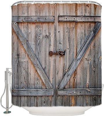 """Rustic Old House Wooden Door Waterproof Fabric Shower Curtain 71/"""" Bathroom Mat"""