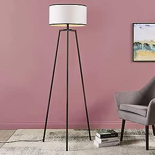 Versanora VN-L00050 Baker Floor Lamp-White with Black Border Shade