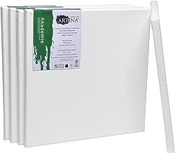 Artina FSC Keilrahmen Akademie 30x30 cm 5er Set - Aus 100% Baumwolle Leinwand Keilrahmen weiß - 280g/m² - verzugsfrei