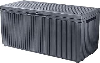 Keter 243547 Springwood 80 Gallon Resin All Weather Deck Box, Grey
