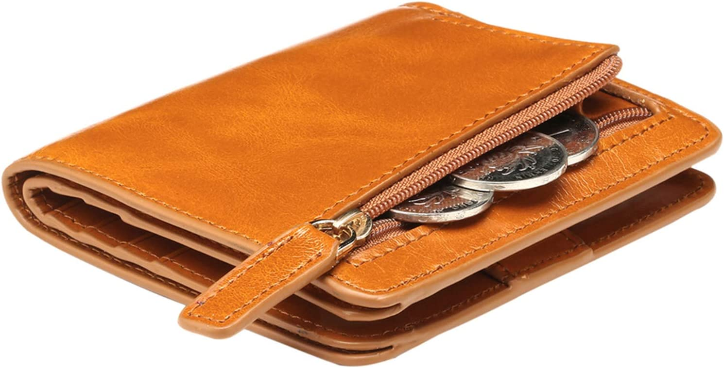 Itslife Women's Rfid Blocking Small Compact Bifold Leather Pocket Wallet Ladies Mini Purse with id Window (Waxed Brown)