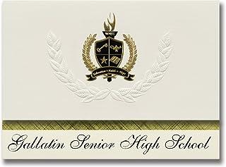Signature Ankündigungen Gallatin Senior High School (Gallatin, TN) Graduation Ankündigungen, Presidential Stil, Elite Paket 25 Stück mit Gold & Schwarz Metallic Folie Dichtung B078VF27J8  Mode-Muster