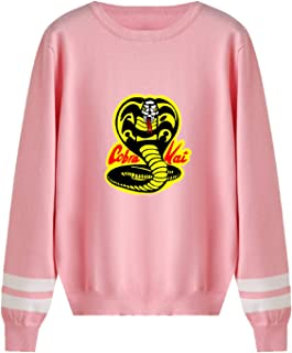 JDSWAN Unisexo Cobra Kai Jersey de Punto Redondo Cuello Cobra Kai Cobra Impresión de Cartas Suéter de Manga Larga Suéter d...
