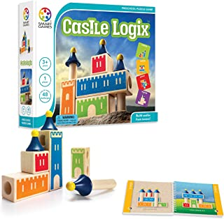 SmartGames Castle Logix Wooden Cognitive Skill-Building Puzzle Game featuring 48 Playful Challenges for Ages 3+