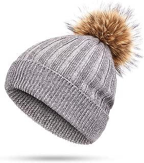 Hot Ladies Rabbit Cashmere Beanie Hat Raccoon Fur pom poms Winter Woman Wool Thicken Hedging Cap