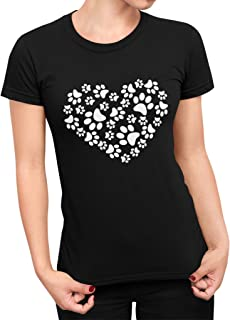 Womens Paw Print Heart Dog Cat Short Sleeve Black Modern Tapered Fit Ladies T-Shirt